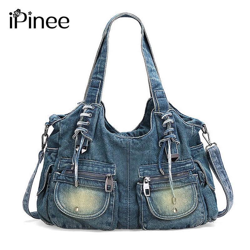 1aa1424c10c IPinee Mode Vrouwen Tas Vintage Casual Denim Handtas Dame Grote Capaciteit  Jeans Tote Weave Tape Creatieve Schouder Messenger Bag Leather Bags For Men  ...