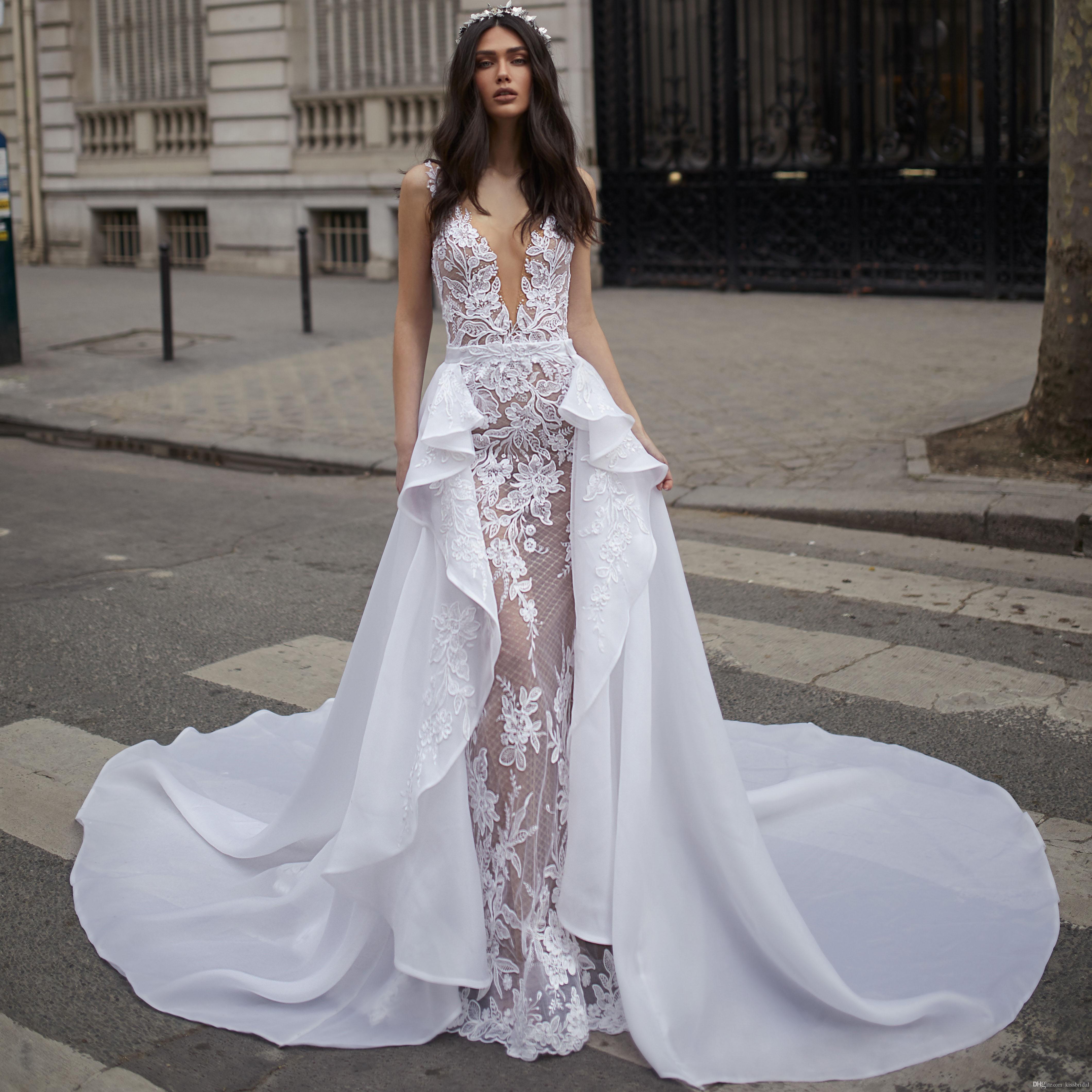 Overskirts Lace Wedding Dresses 2019 Deep V Neckline Open