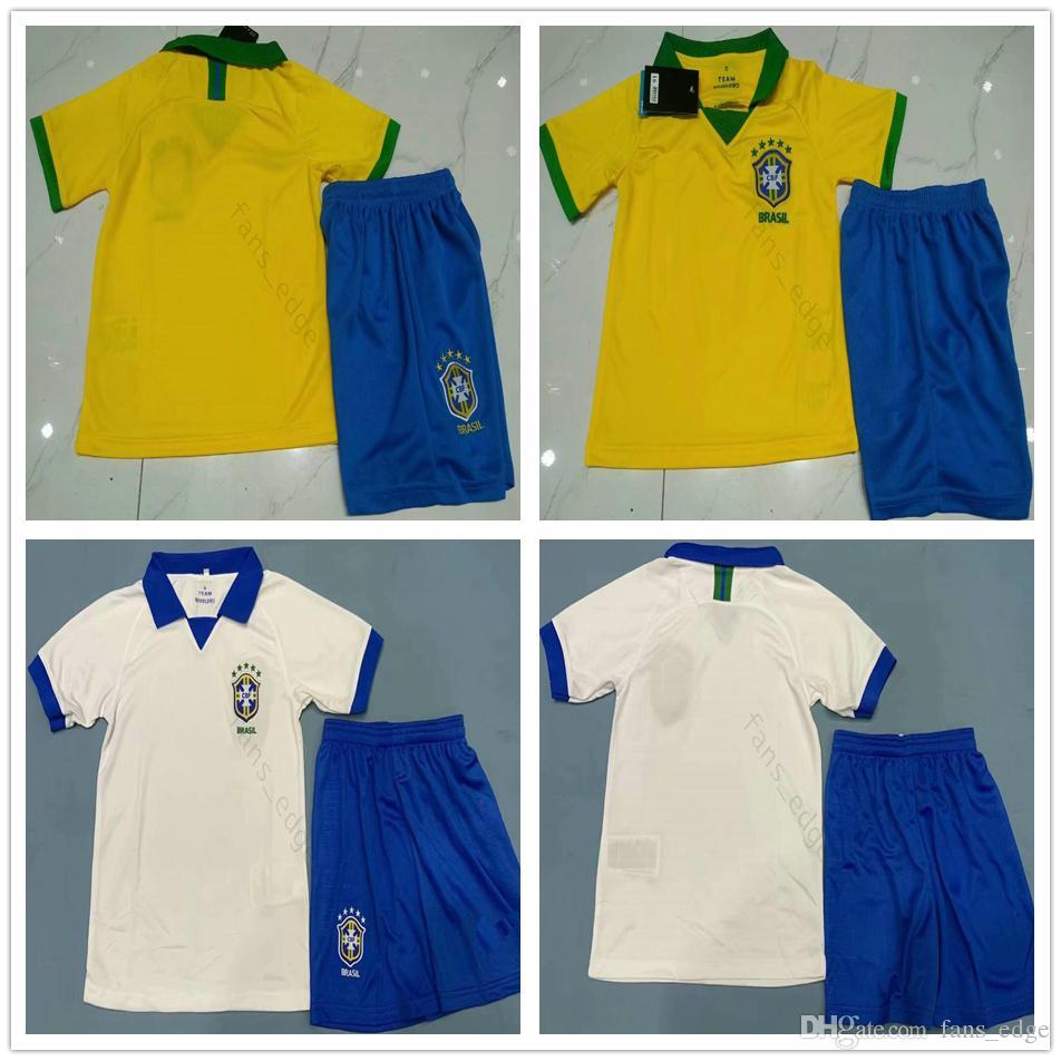 19 20 kids America Cup Brasil soccer jersey G JESUS 2019 2020 COUTINHO  FIRMINO MARCELO football boys kit camisa Yellow White Football Shirt