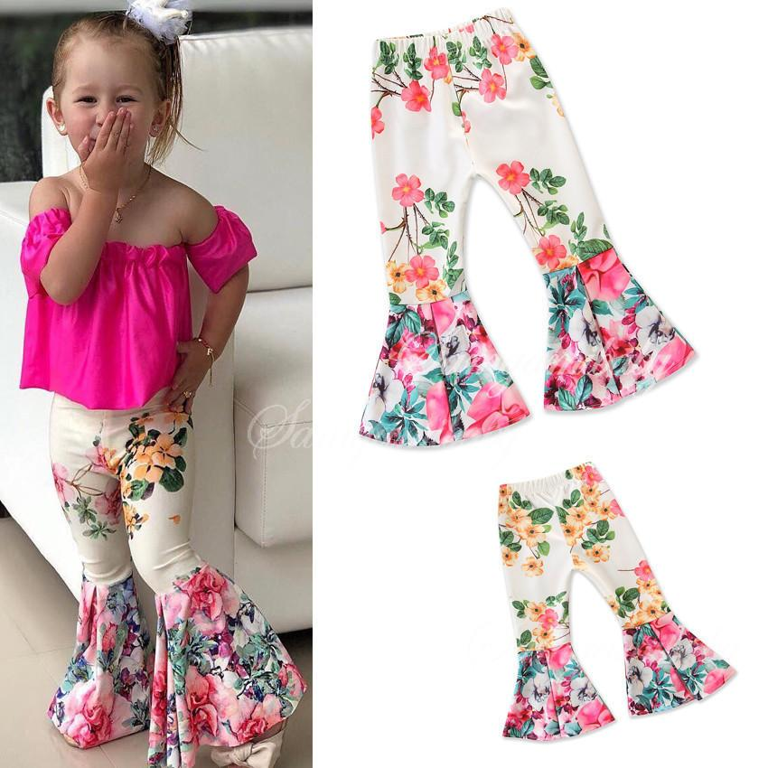 Retail Baby Girls White Floral Printed flare Pants trousers Leggings Tights Kids Designer sweat Pants Fashion boutique Children Clothes