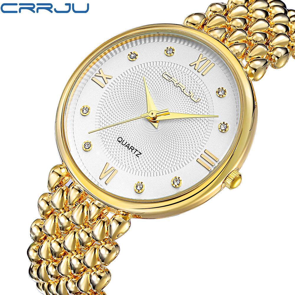 Compre 2017 Nueva Marca Top CRRJU Moda Mujer Relojes De Oro De Acero  Inoxidable De Cuarzo Relojes De Las Señoras Hora Montre Femme Pulsera  Vestido De Reloj ... 82c1d9bbe7b2