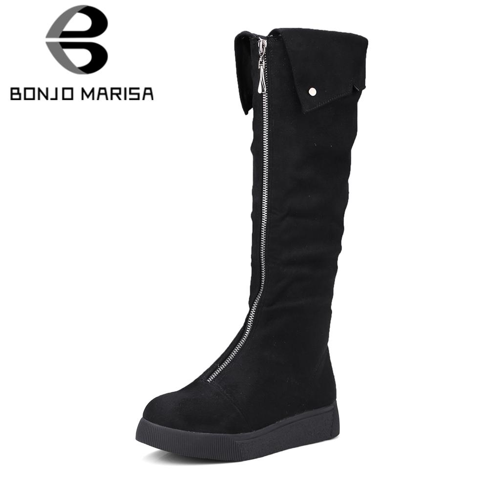 a77ef6215a5 BONJOMARISA New Arrival 32 43 Knee High Boots Ladies 3.5cm Wedges Turned  Over Edge Autumn Winter Long Boots Female Shoes Woman Shoes For Women Desert  Boots ...