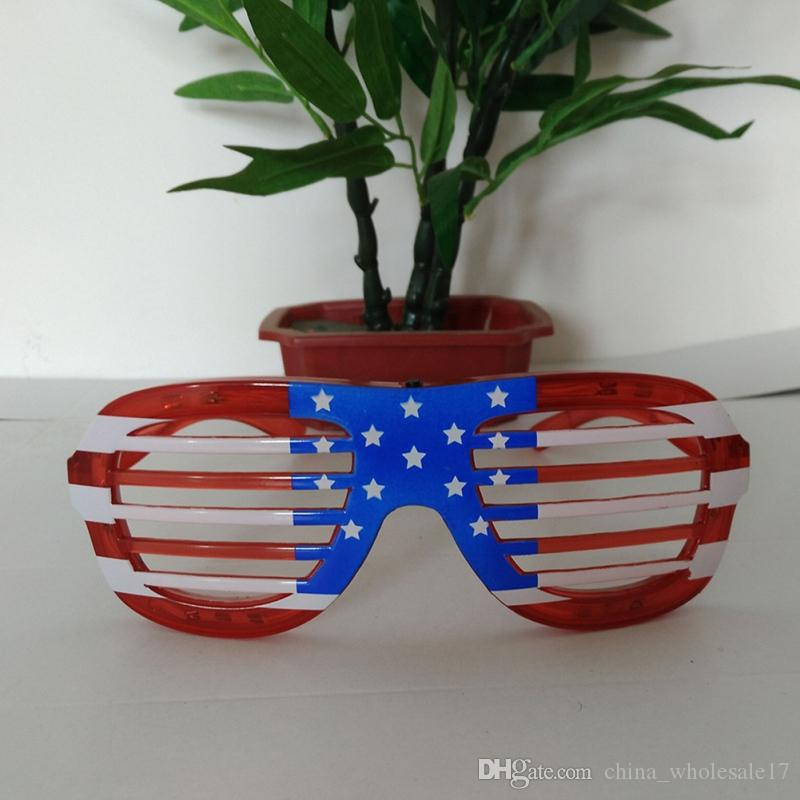 405eb999e01 Funny Holiday Gifts Flashing Party Christmas LED Glasses American Flag  Blinds Glowing Glasses Luminous Toys For Adults Plain White Party Hats  Princess ...