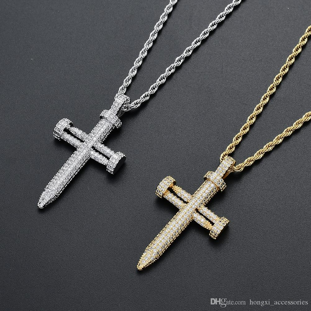 Fashion new European and American hip hop jewelry nail shape cross pendant friends party gift copper inlaid zircon necklace