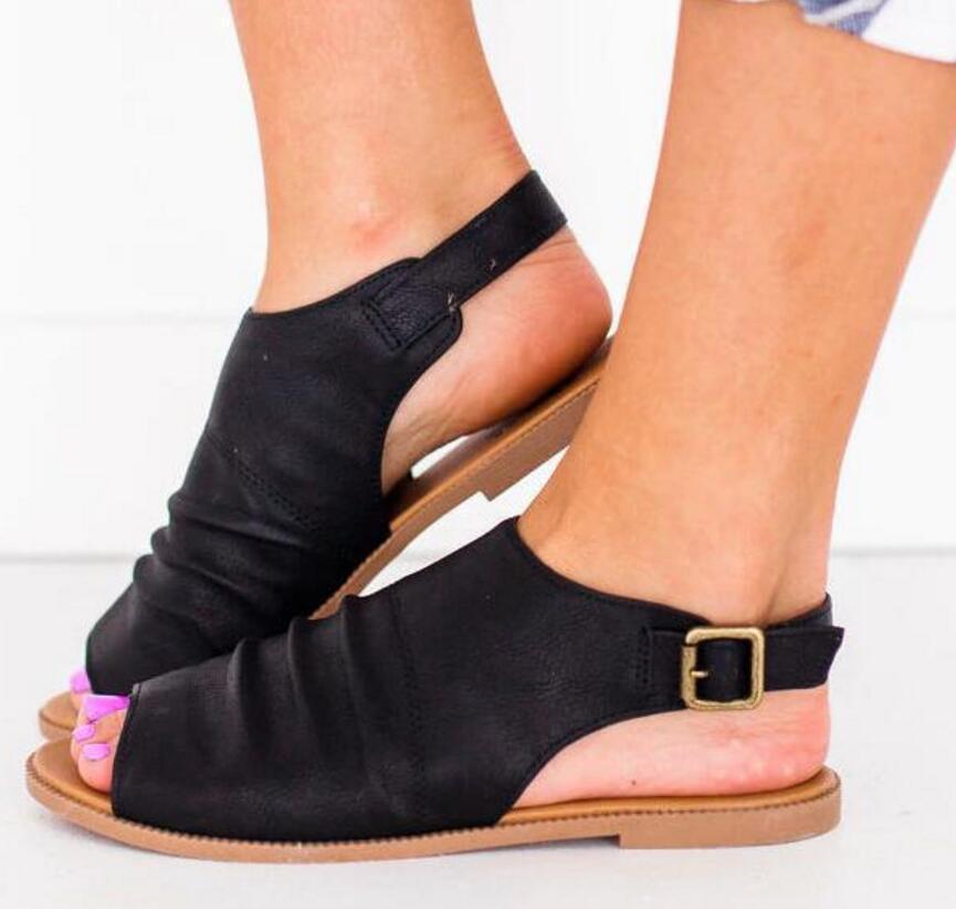 innovative design 3917b 8c752 Compre Pop 2019 Peep Toe Flats Ladies Casual Shoes Mujer Verano Sandalias  Planas Sling Back Arrugado Chaussure Mujeres Zapatillas Zapatos Mujer A   38.78 Del ...