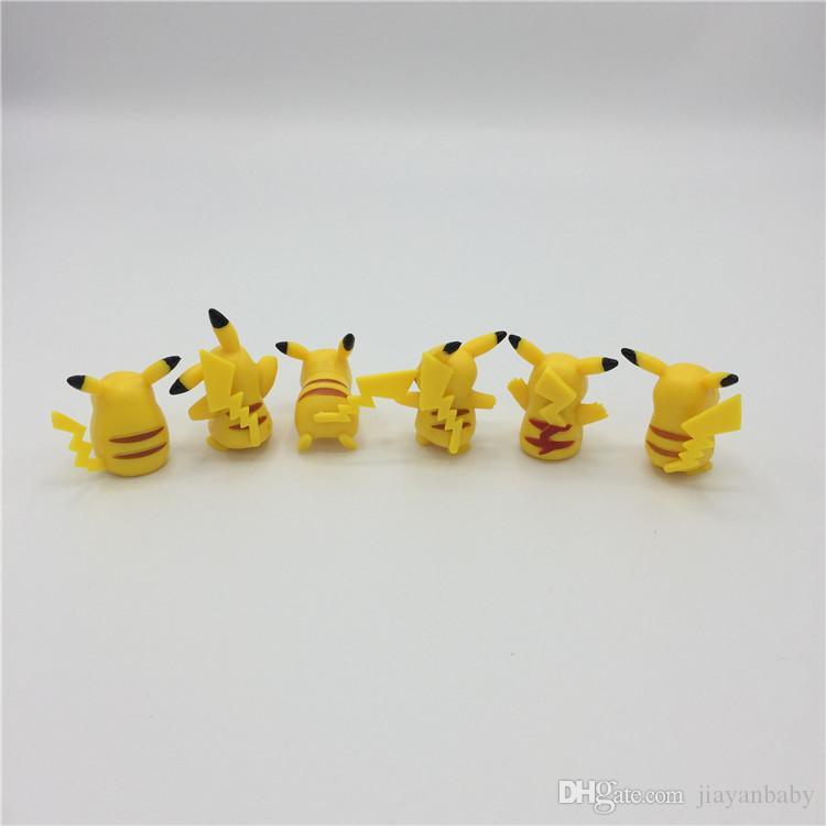 Yeni 6 adet 3-5 cm pikachu Rakamlar Pock PVC Action Figure minifigures sarı Pikachu DIY Oyuncaklar Bebekler Ücretsiz kargo stokta