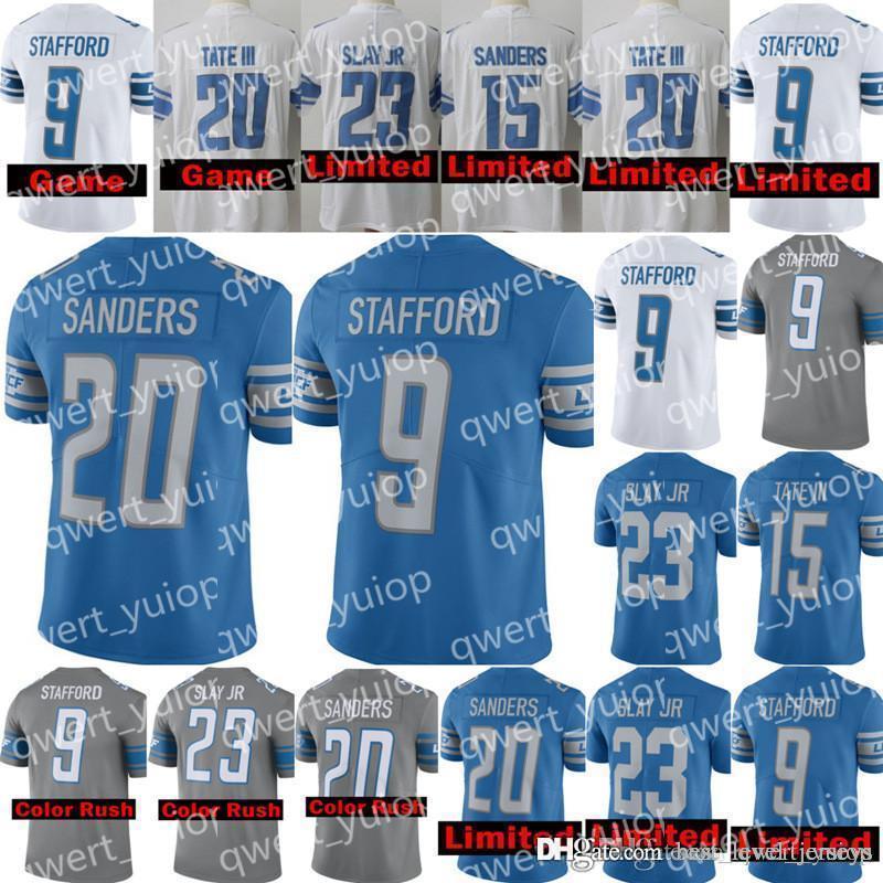 free shipping a8c9b 6649d Detroit Lions 9 Matthew Stafford 23 Darius Slay JR football jerseys 20  Barry Sanders 15 Golden Tate III Stitched Embroid