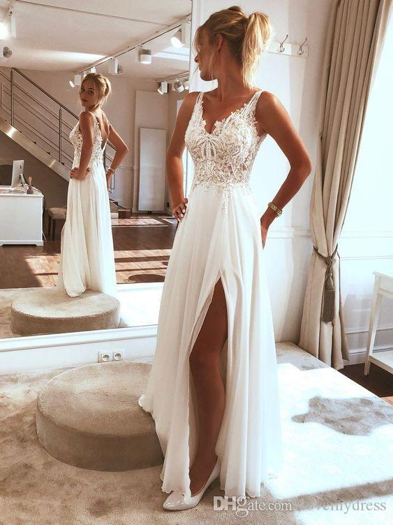 2020 White Lace Beaded Applique Dresses Evening Wear Party Side Split V-neck V Open Back Draped Chiffon Prom Dress Special Occasion Women
