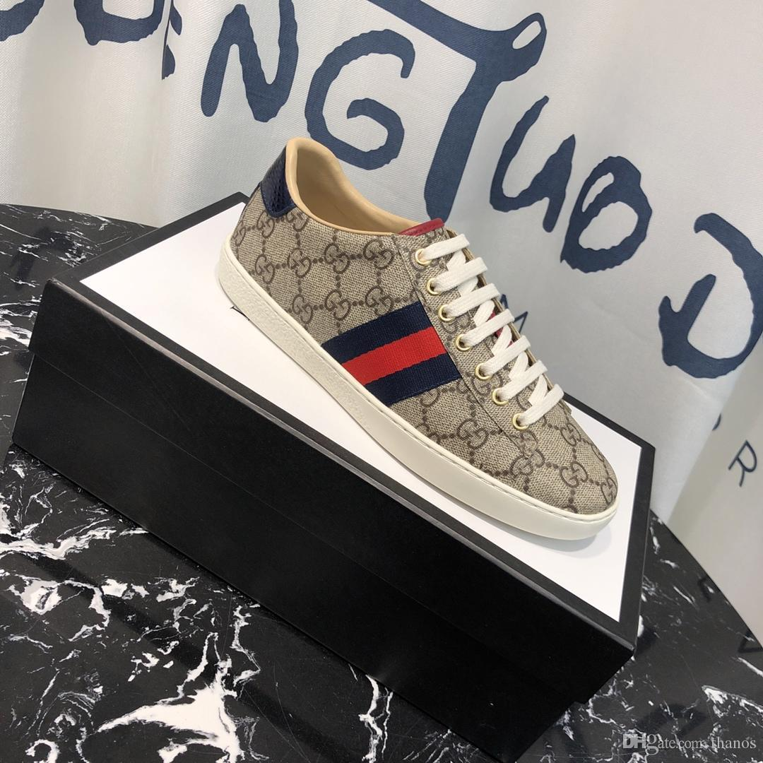 96e717ffd 2019 Guccis Gucci's Top Boxed Men Women G113 Unisex Mens Womens Bees Ace  Embroidery Printing White Genuine Leather Shoes Sneakers From Thanos, ...