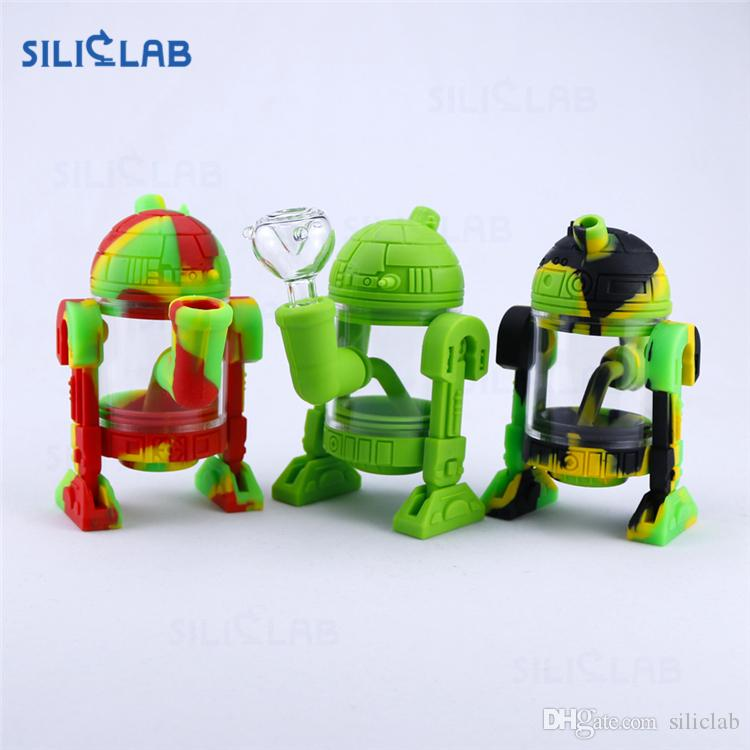 "SILICLAB Silicon Bongs Water Pipe Dab Rig 5.3"" Robot Silicone Smoking Pipes Oil Rigs Wax Heady Pipes Cool Bong Heady Beaker Bubbler"