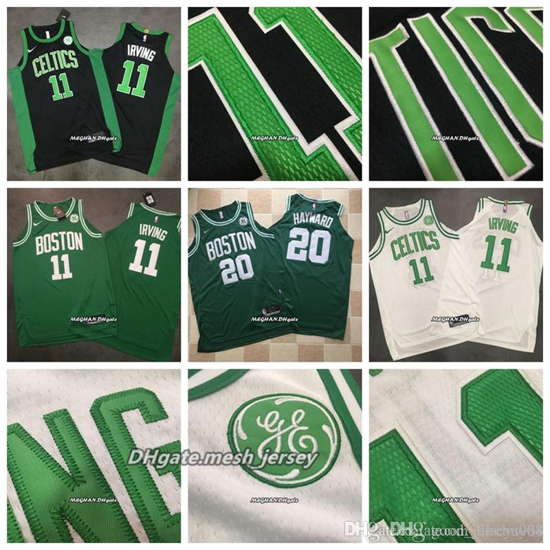 buy online 96ffe 6b321 2019 Boston Men Celtics Dense Basketball 11 Kyrie Irving Jerseys 20 Gordon  Hayward Dense AU Mesh Fabric Jerseys - Black Green White