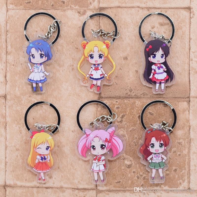 Sailor Moon Double Sided Acrylic Keychain Anime Sailor Moon Luna Hino Rei  Acrylic keyring Anime Sailor Moon Cosplay Props Keychain