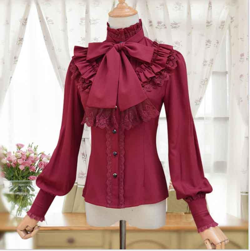 2019 New Women Vintage High Collar Neck Bow Lace Blouse Shirt Victoria Lolita Costume Slim Fitted Long Sleeve Shirt Formal Top