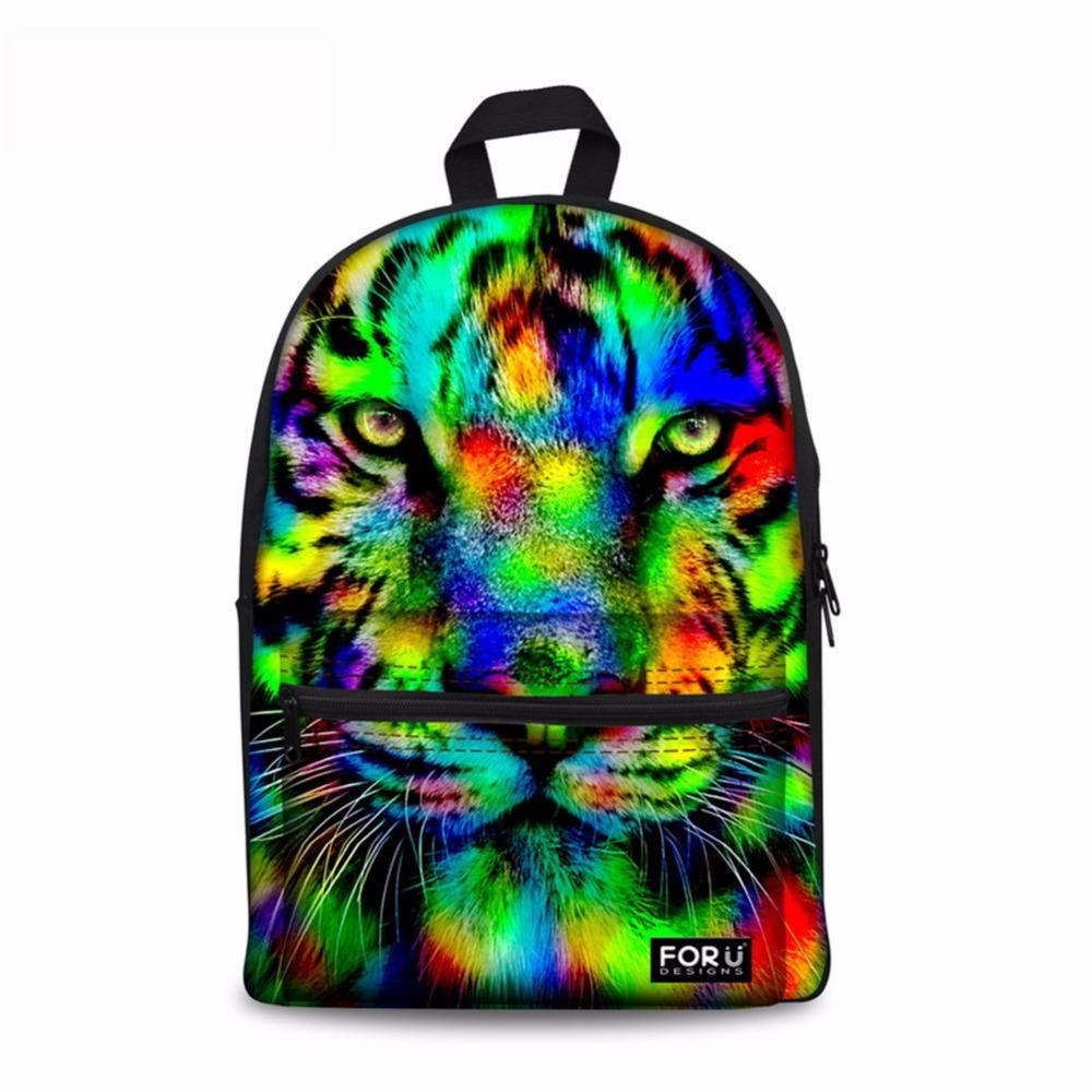 Noisydesigns Preppy Style School Backpack Teenager 3D Animal Lion Tiger Kids Printing Backpack Zoo Casual Women Boys Girls