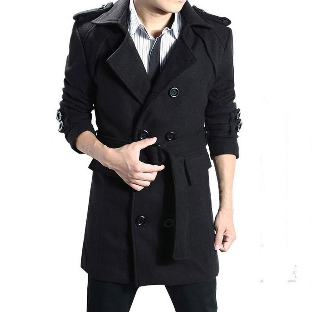 Cotton Blend Herren Warm Double Breasted Trench Mantel Jacke Overcoat Outwear