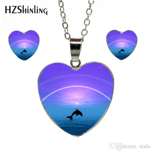 New Fashion Jewelry Heart Necklace Earrings Dolphin in Deep Blue Sea Photo Heart Jewelry Set Silver Handmade Accessories