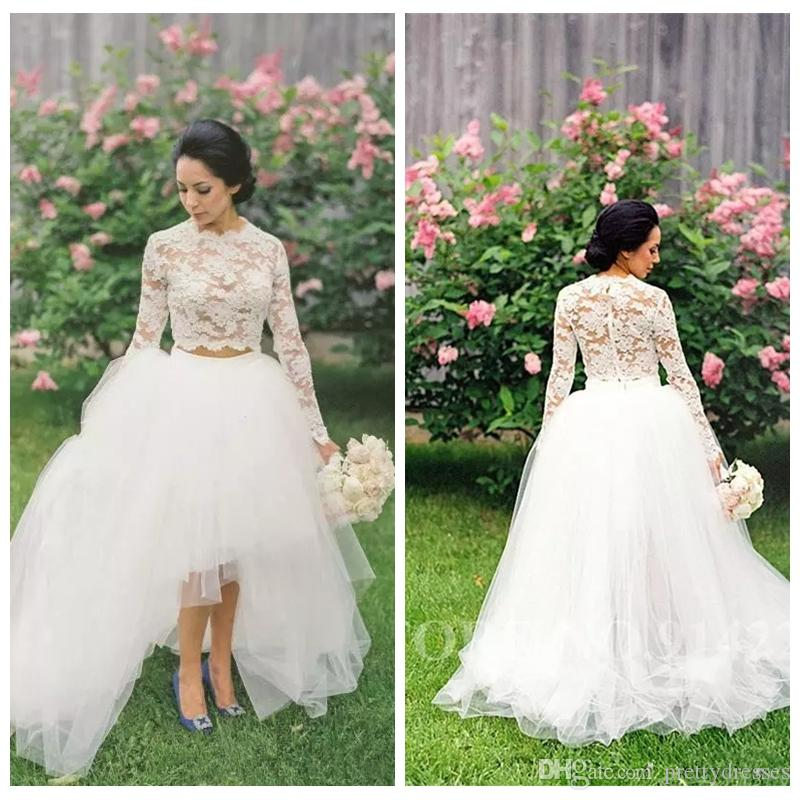 Jewel Lace Long Sleeves Two Piece Wedding Dresses Tulle High Low Vintage Bridal Gowns Vestidos De Marriage Cheap Formal Wedding Wear