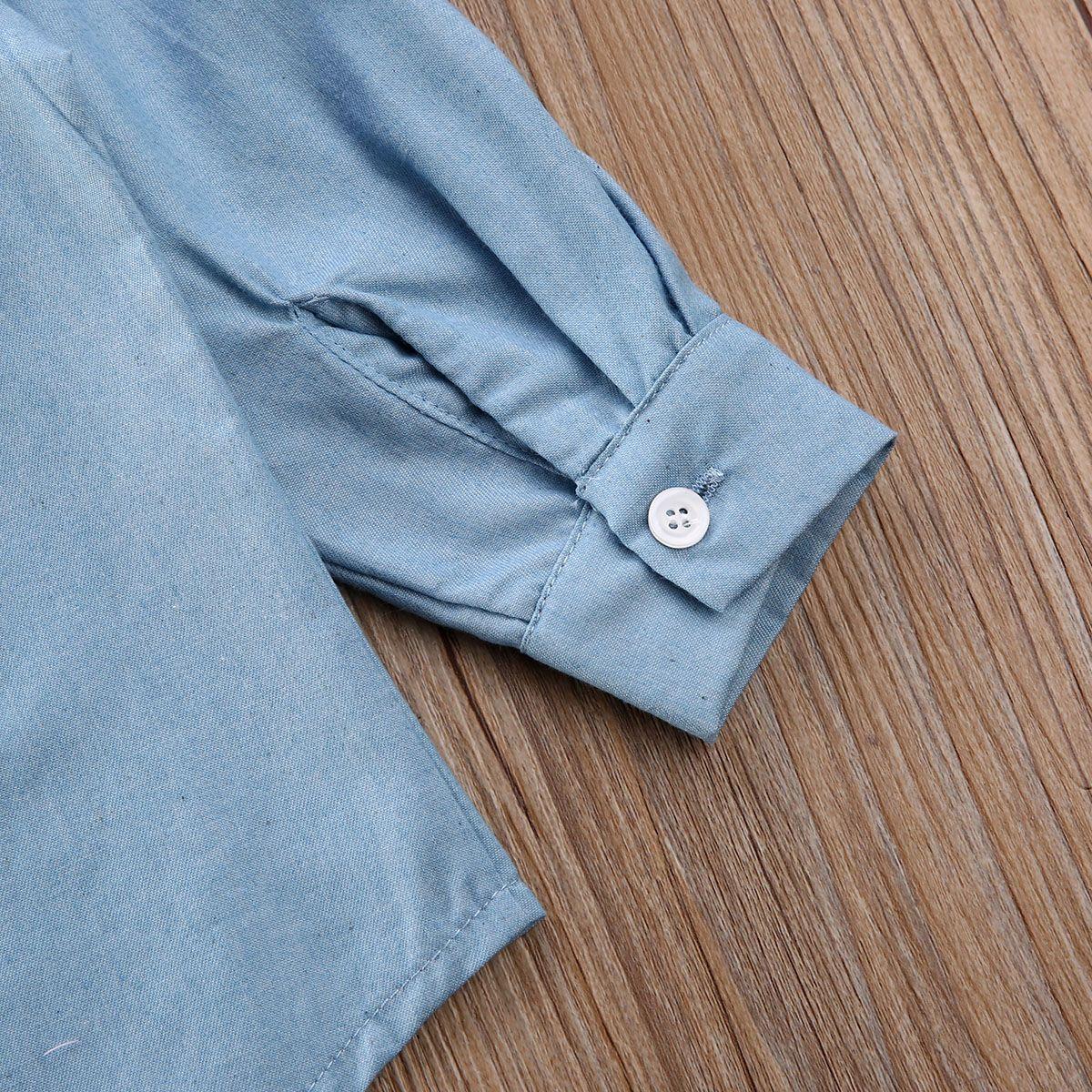 Pudcoco Infant Kid Baby Girl 2T-7T Denim Jacket Tops Shirt Letter Print Blue Long Sleeve Coat Shirt