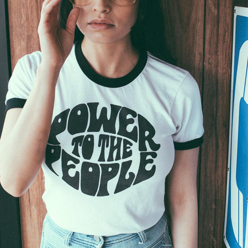 2acba3178 Vintage Style Power To The People Slogan Fashion T Shirt Women Summer  Casual Ringer Tee Equality Shirt Justice Graphic Tops Y190123 Rude T Shirt  Shirt With ...