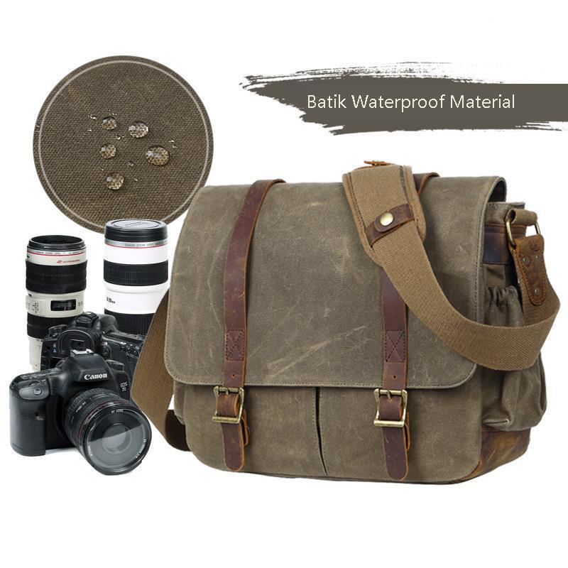 with Photo Pouch Canvas DSLR SLR Strap Case Casual Shoulder Vintage Messenger Comfort Camera Bag Men Camera Bag with