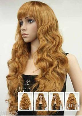 Cosplay Harajuku Anime Hot WOMENS FULL WIG Bionda Sexy Strawberry Long Wavy Wig per parrucche da donna