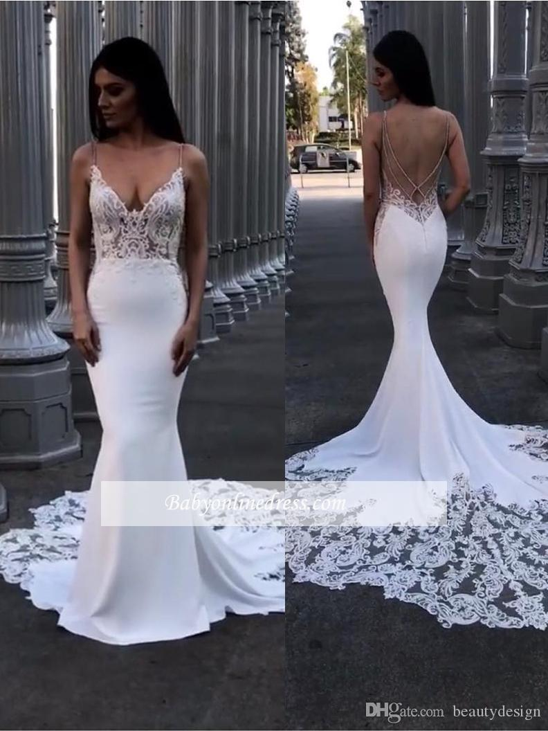 24261393e9 2019 Spring Elegant Lace and Satin V Neck Mermaid Wedding Dresses Spaghetti  Straps Backless Appliques Ruched Bridal Gowns Custom Made