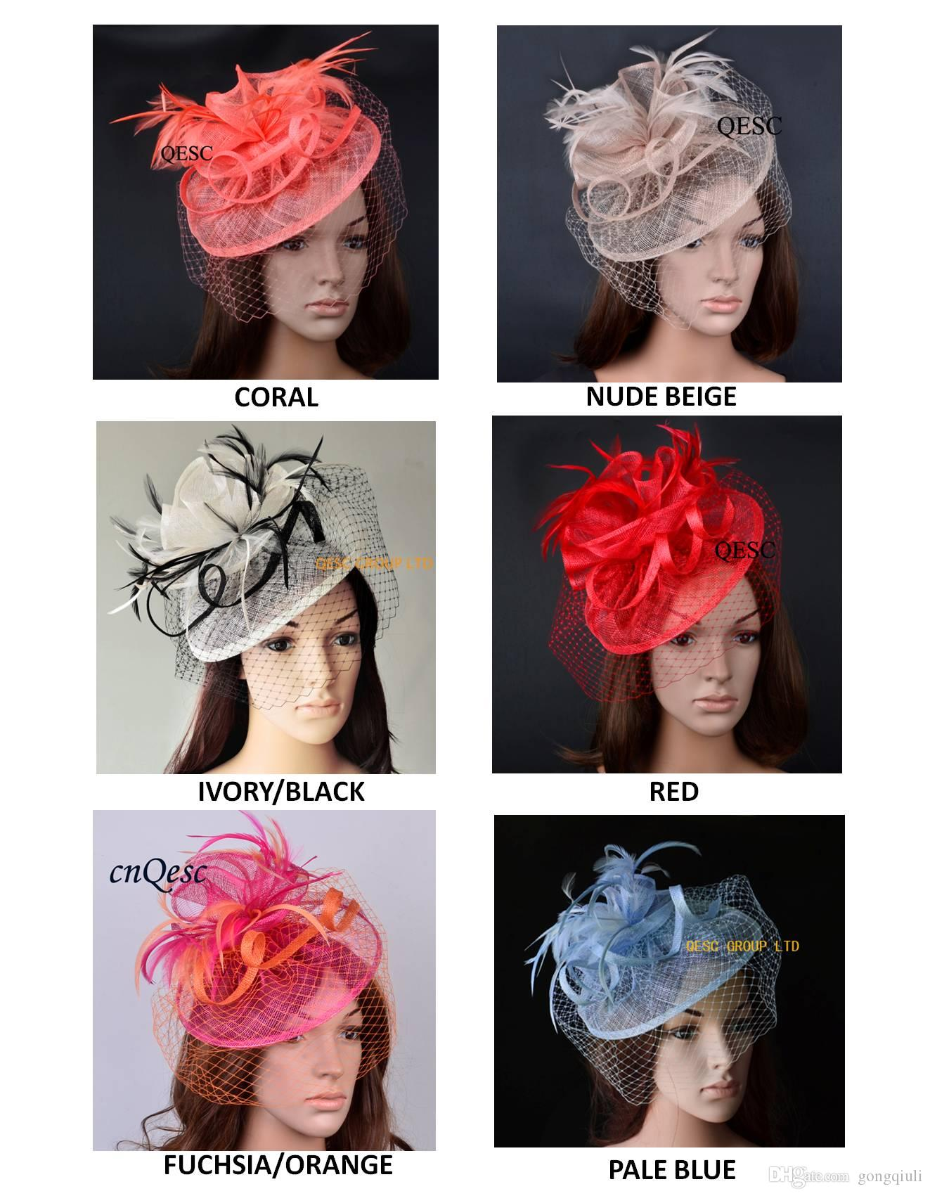 733820429e5 NEW DESIGN High Quality Elegant Sinamay Fascinator Feather Headpiece ...