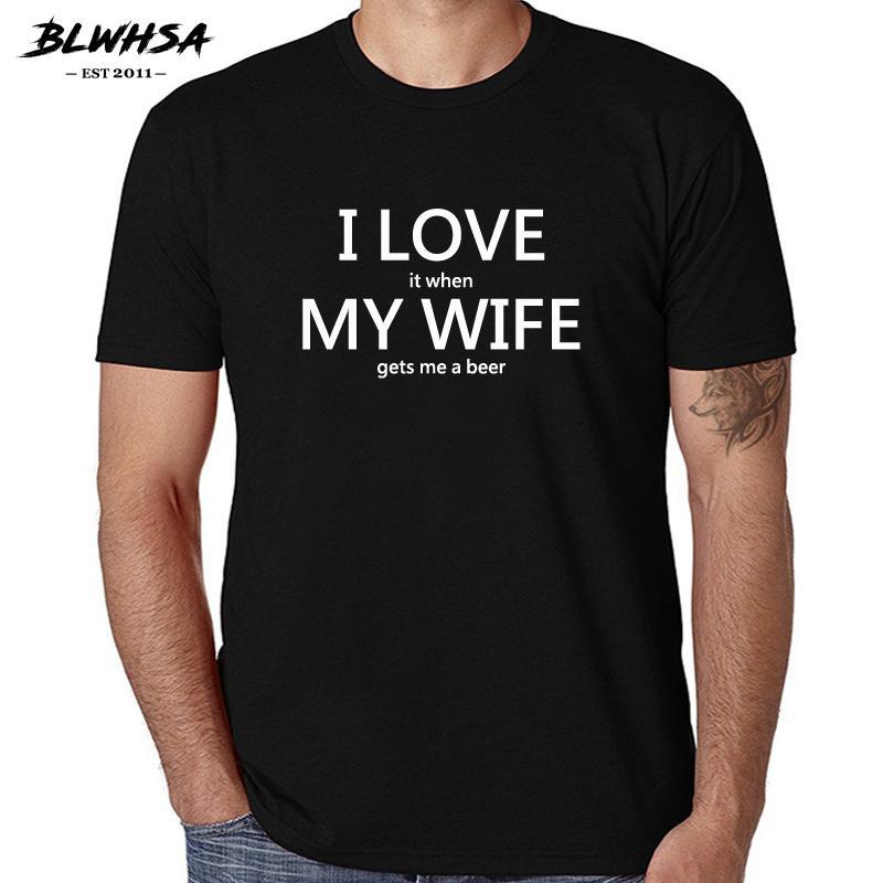 817799ba3 Compre Blswsa Moda Masculina Camiseta Eu Amo Minha Esposa Impresso Multi  Color Opcional De Manga Curta 100% Algodão O Pescoço Casual Ama Homens T  Shirt De ...