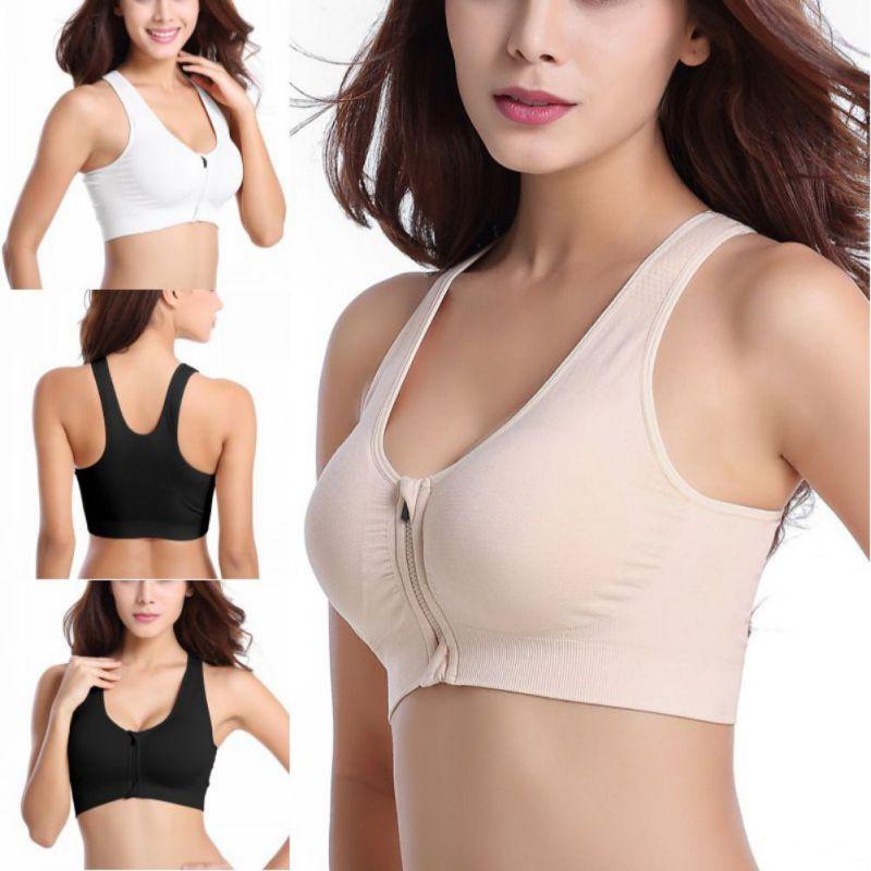 b02cf38b4a9b0 Women s Zipper Push Bra Thick Wireless Shockproof Fitness Vest ...