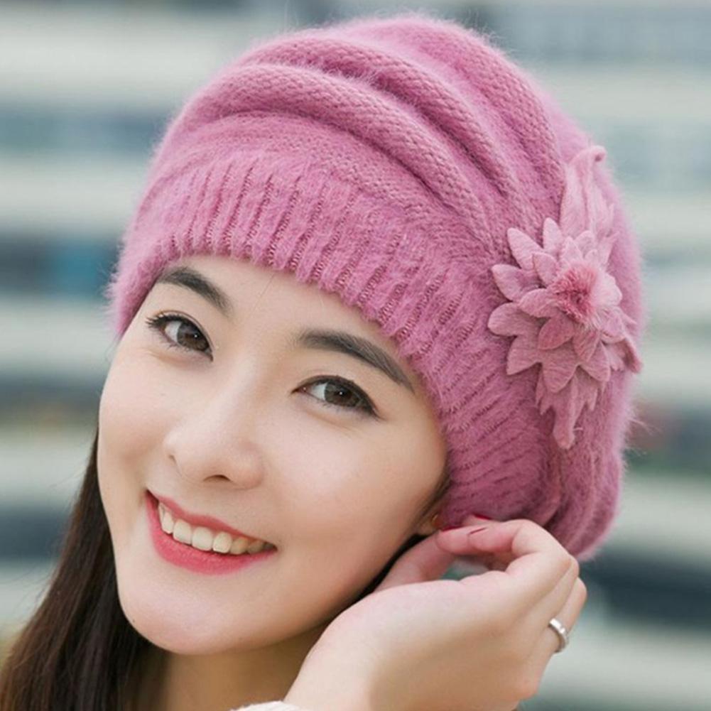 565d7dbe1d1 2019 Wonderful Women Knitted Hats Fashion Lady Winter Warm Flower ...