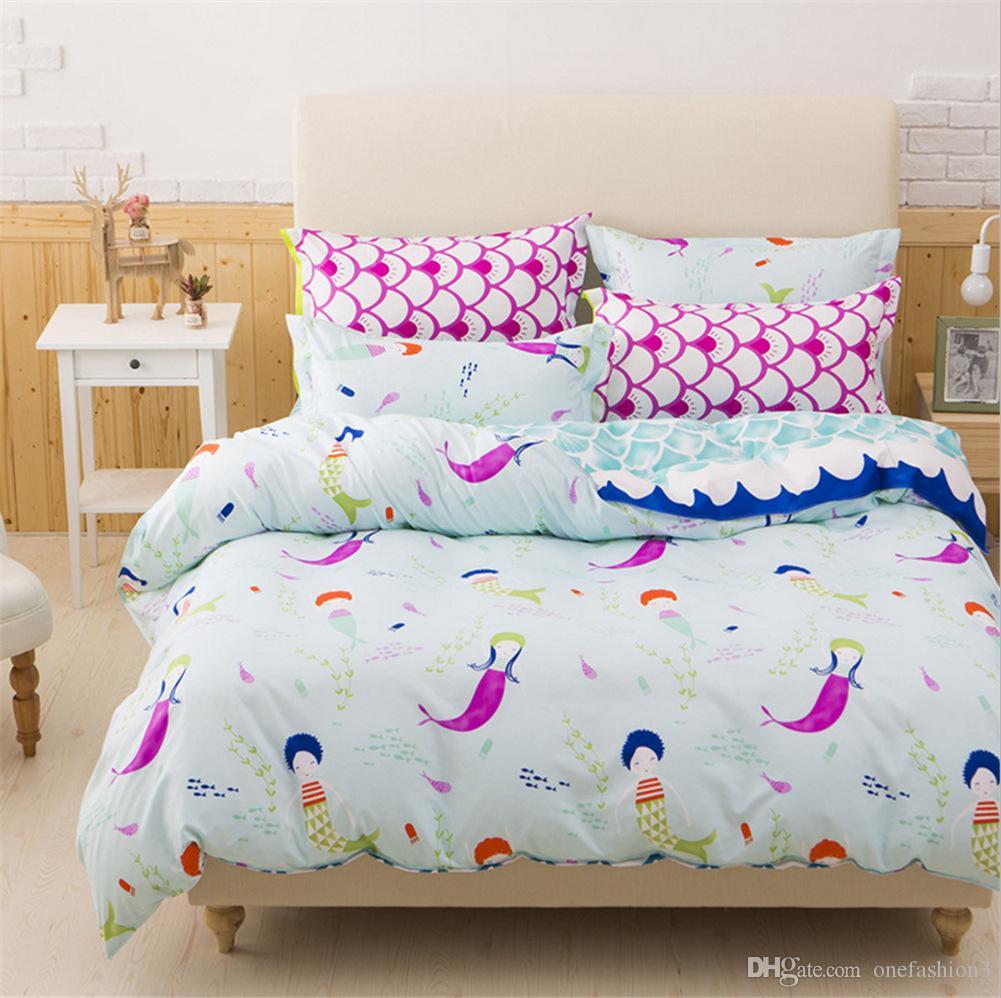 Mermaid Bedding Set Colourful Bed Linen Set Twin Full Queen King Uk