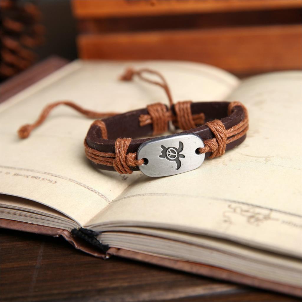 2017 Peace Turtles Genuine Leather Charm Bracelet Cuff Braided Wrap Bracelet & Bangles Fashion For Women Men Gifts