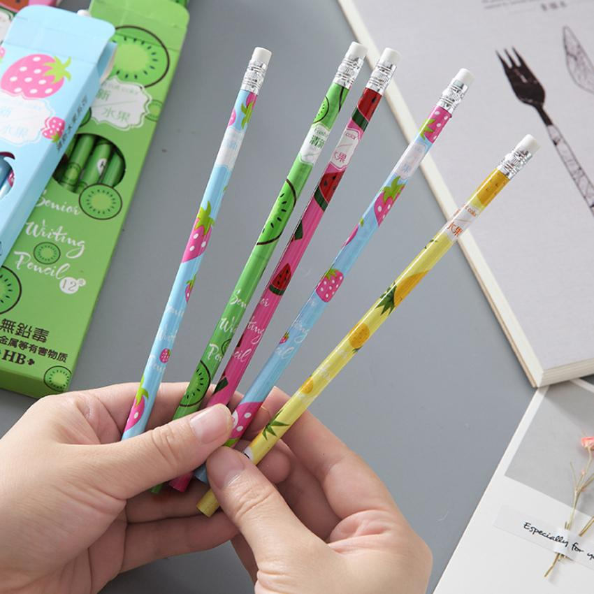 8packs/lot Cute Cartoon Fresh Fruit Standard HB Wood Pencils With Rubber Eraser Head Cartoon kids pencil gifts Wholesale