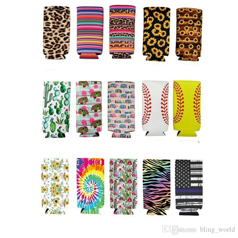 Slim Can Sleeve Sunflower Neoprene Insulator Cooler Baseball Can Holder Water Bottle Covers Bottle Case Pouch Leopard Flower 10 Style YW3488