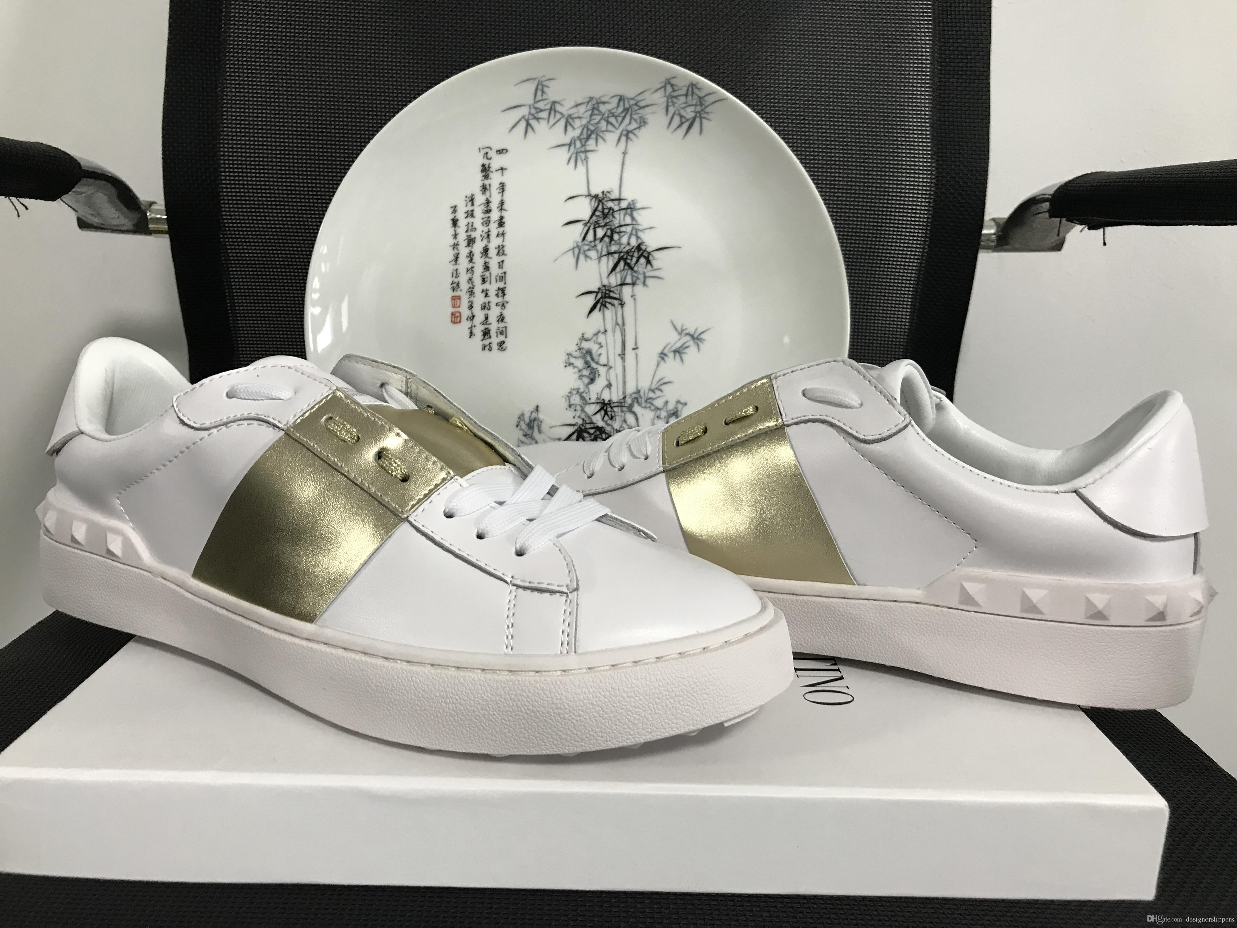 New designer luxury real leather classic casual women sneakers top quality man shoes luxury ace fashion golden white with box size 35-49