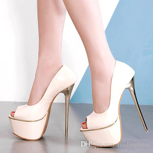 16cm Sexy Nude Pumps Peep Toe Platform High Heels Luxury Women ... 1703d780f0f6