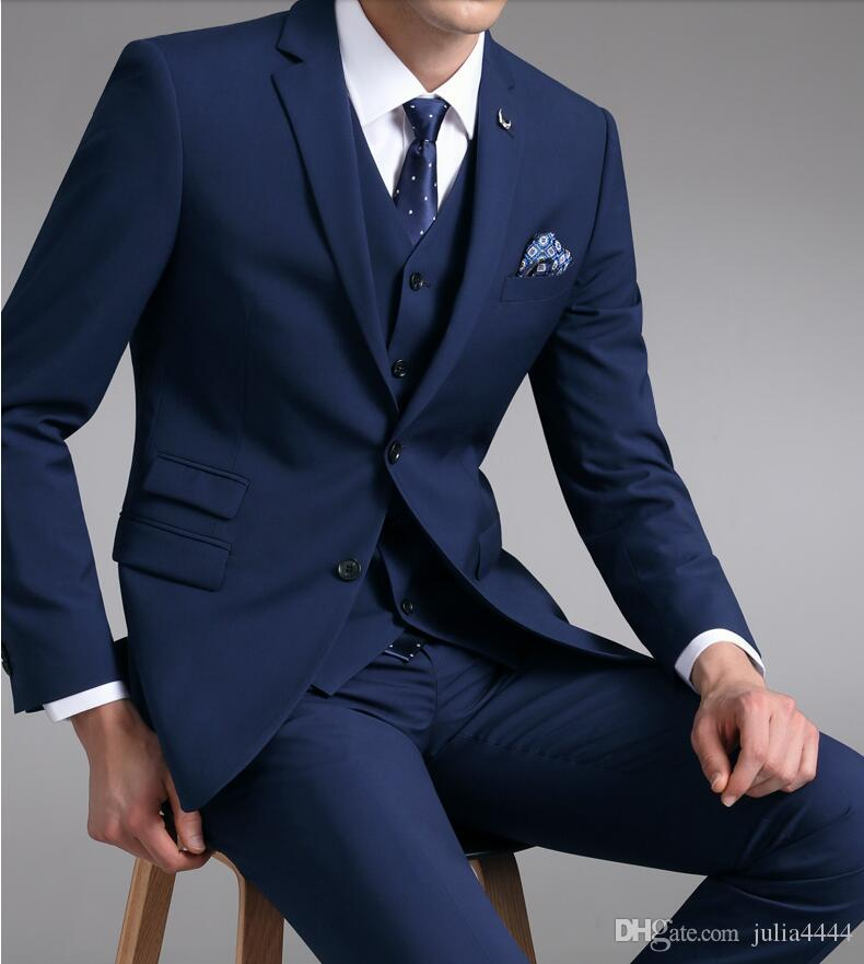 42ff323588351 Compre Traje Azul De Esmoquin De Boda Traje De Novio Trajes De Boda Para  Hombre 2019 Traje De Novio De Novia Para Hombre Chaqueta + Pantalón +  Chaleco ...