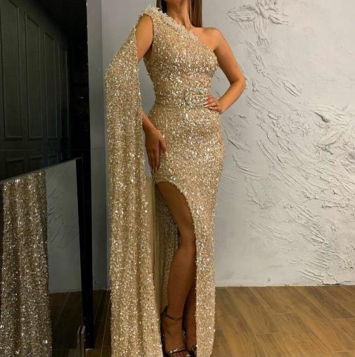 Evening dress Yousef aljasmi Labourjoisie Zuhair murad Sheath Long Sleeve One-Shoulder Sequined SequiSplit Front/Side2 Long Dress James_paul