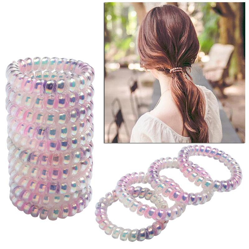 Spiral Hair Bands For Girls Women Headwear Accessories Telephone Wire  Rubber Hair Ties Ropes Colored Hairband Ponytail Holder Perfect Hair Buns  Perfect Buns ... 23f0e729038