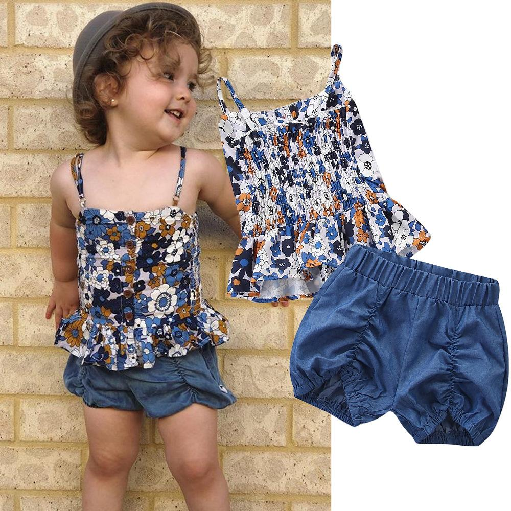 Samgami baby European and American style girl child summer dress lovely flowers printed small hanging belt + shorts suit