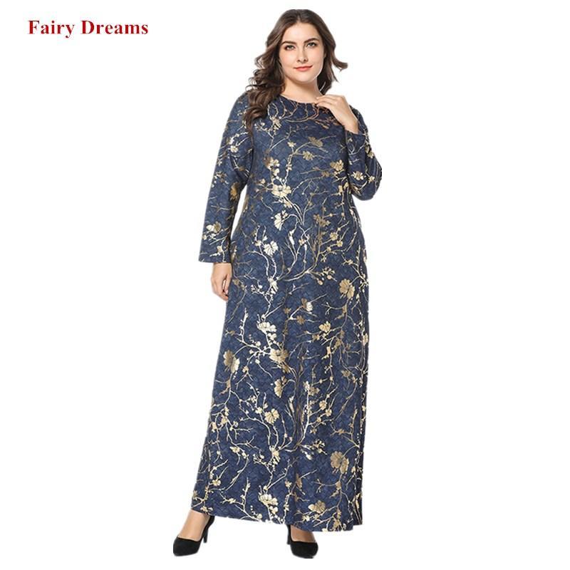 436bc60114d Acheter Femmes Abaya Musulman Maxi Robe Caftan Turc Dubaï Islamique  Vêtements Imprimer Grande Taille Robes Longues Ukraine Robe 2019 Fairy  Dreams De  38.2 ...