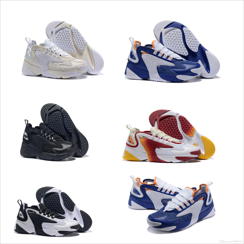 more photos a0504 25586 Acheter 2019 Nouveau Zoom 2K ZM 2000 Hommes Style De Vie Casual Chaussures  Noir Blanc Bleu Orange Avec La Taille De La Boîte US 7 12 De  109.65 Du ...