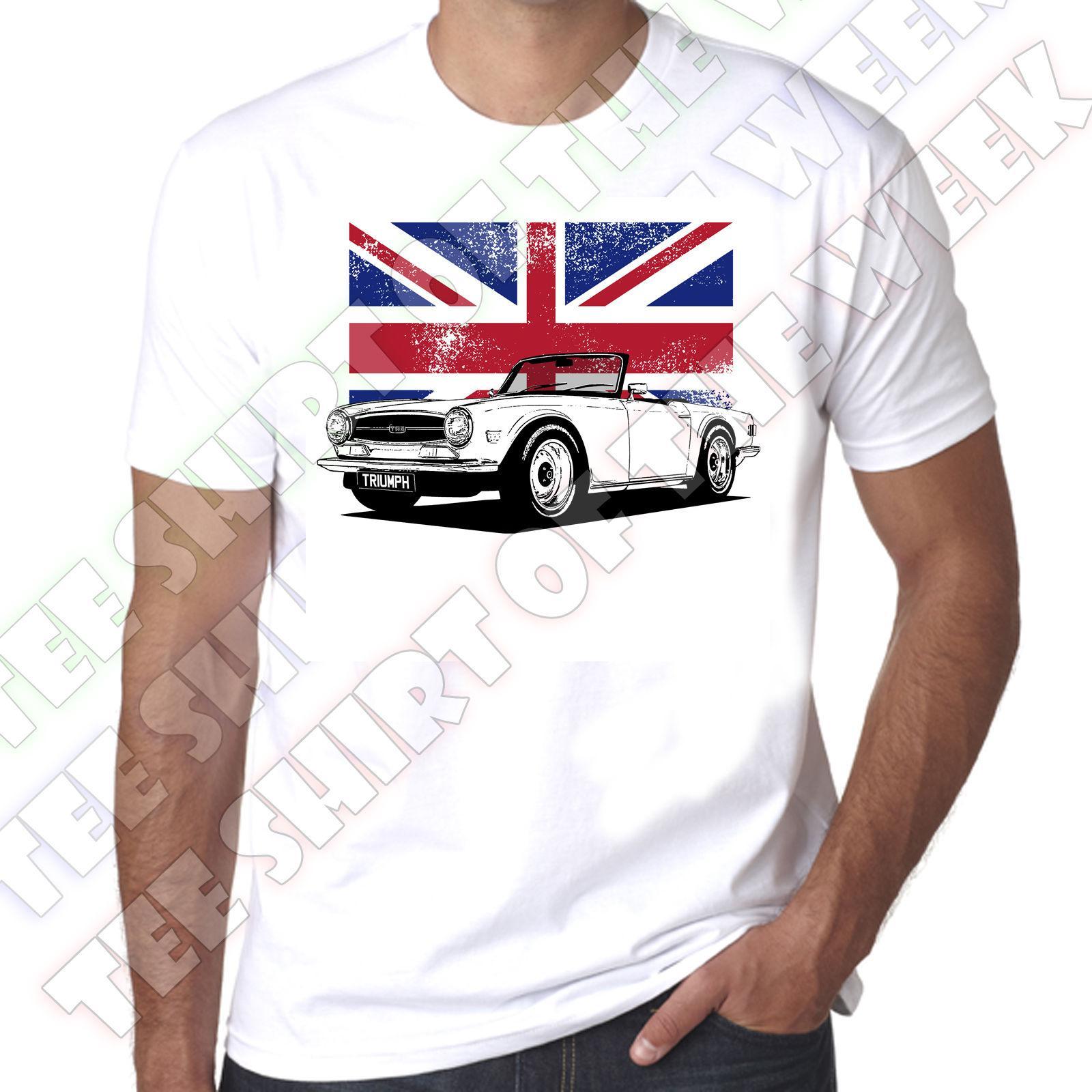 Triumph Tr6 Union Jack Mens Personalisable 100 Cotton White T Shirt