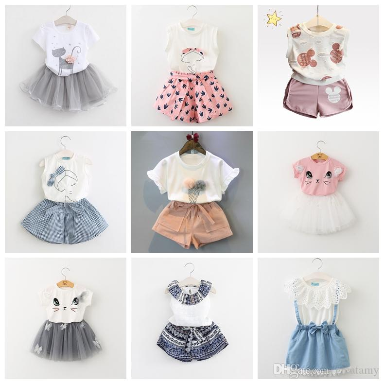 Baby Girl Clothes Fashion Cartoon Girls Summer Set Clothes Baby Suits Kids T Shirt +Pants Children Clothing Set good quality boutiques