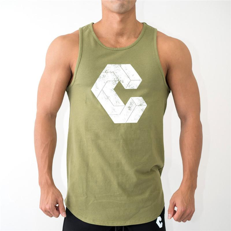 2019 NEW Undershirt Soft Vest Top Men Summer Green Short Sleeve Cotton Breathable Sport Running Fitness Gym Workout Casual Shorts T shirt