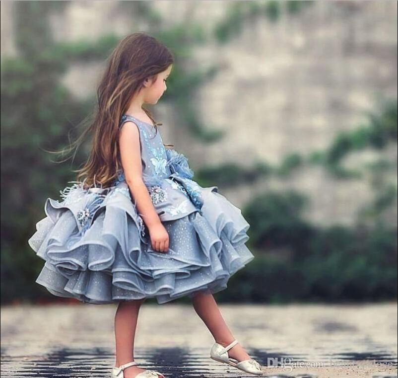 Most Cute Baby Kids Blue Tiered Tutu Short Pageant Dresses Princess 2020 Glitz Tulle Puffy Flowers Girl Dresses Dubai Formal Party Dress