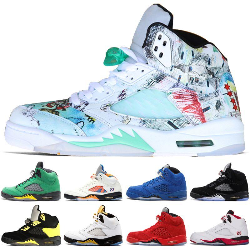 6e6b91cd2587 2019 New Wings 5 5s Mens Basketball Shoes PSG Black White Grape ...