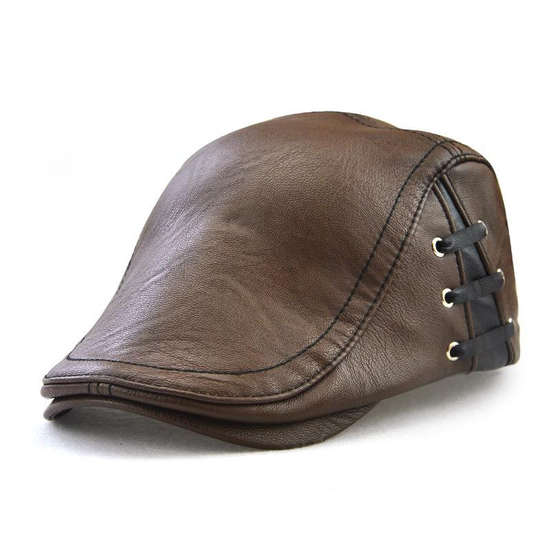 7dfd4200ee2 European And American Trend Leather Men s Cap Personalized ...