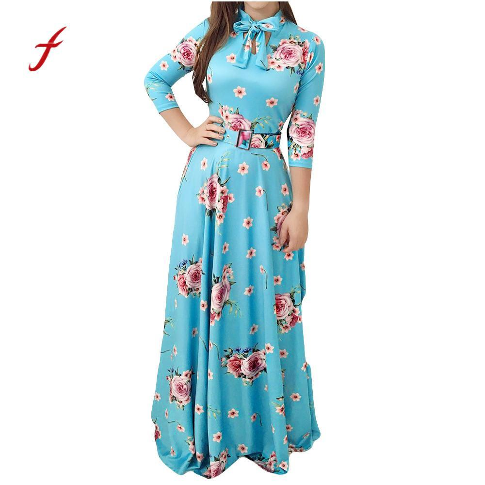 Plus Size Women Maxi Dress Floral Print Bow Tie Long Sleeve Party Dress  Stand Collar Fit Flare Female Vestidos Verano  PT Evening Dresses On Sale  Dress For ... 24b981b08b23