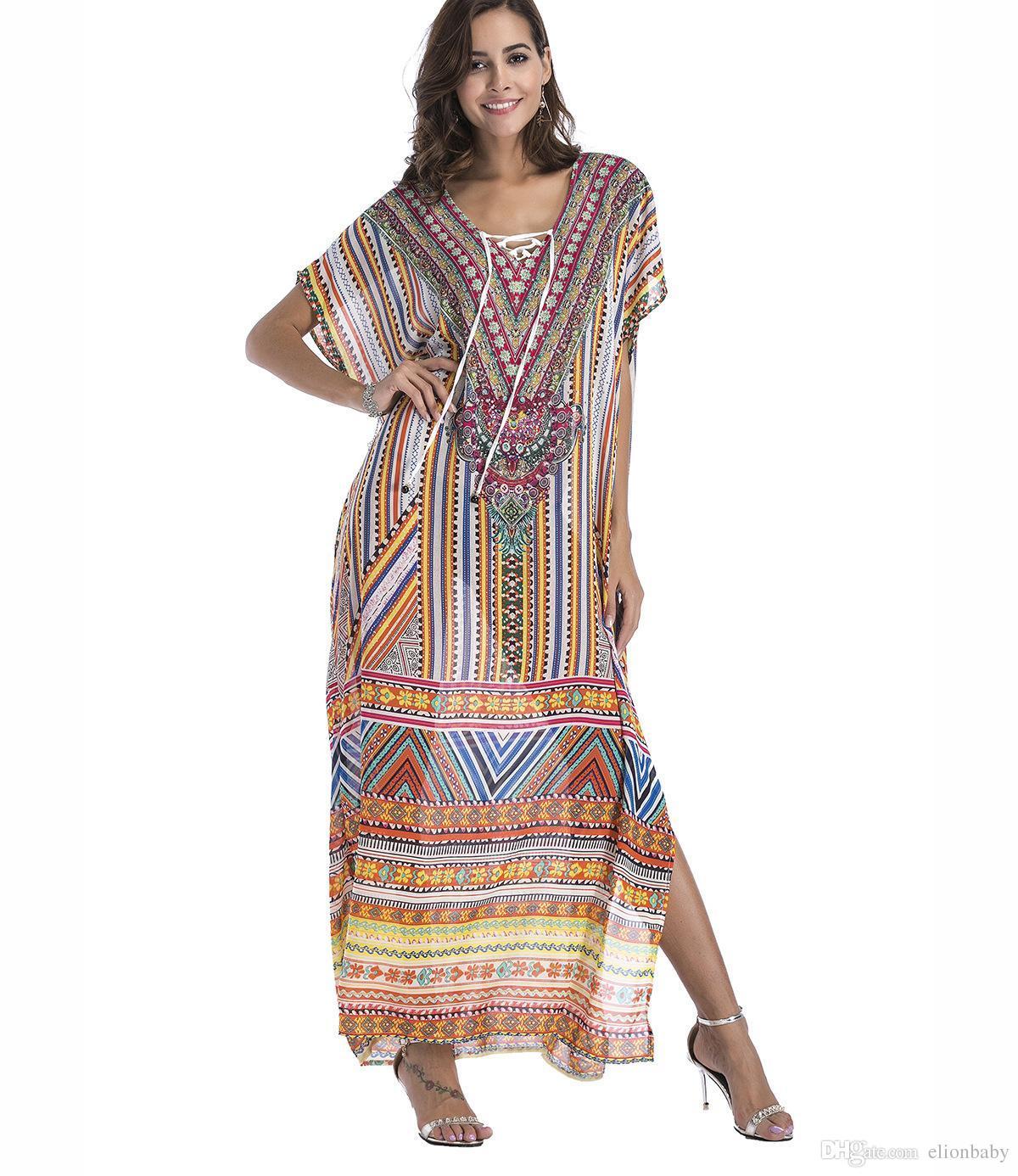 93d905631a2ba Satın Al Şifon Sandy Beach A Konut Çizgisiz Üst Giysili Yer Baskı Kodu  Elbise, $25.63 | DHgate.Com'da